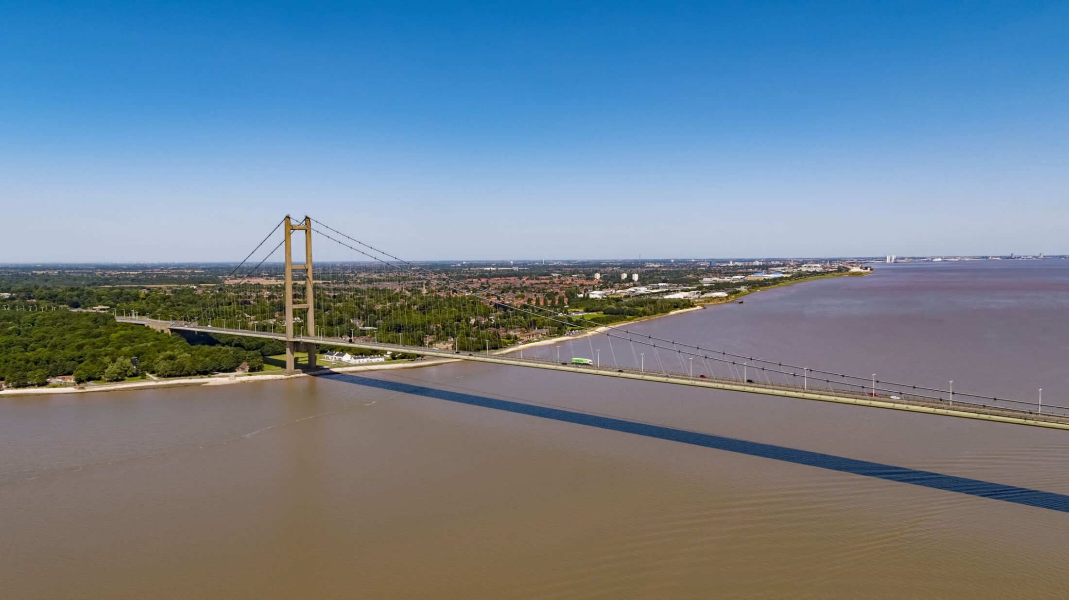 The Humber Bridge Filmed by drone for ITN News