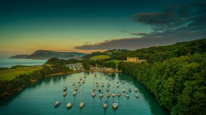 Sunset over the Harbour by drone