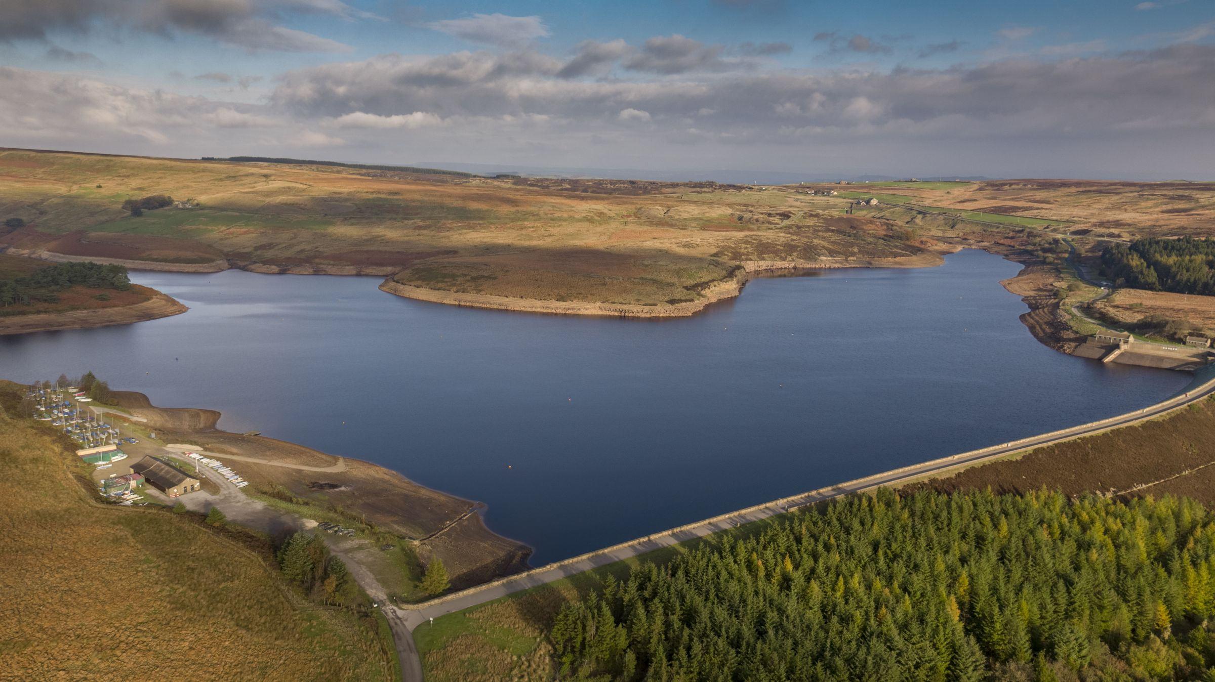 Reservoir in Yorkshire filmed by drone