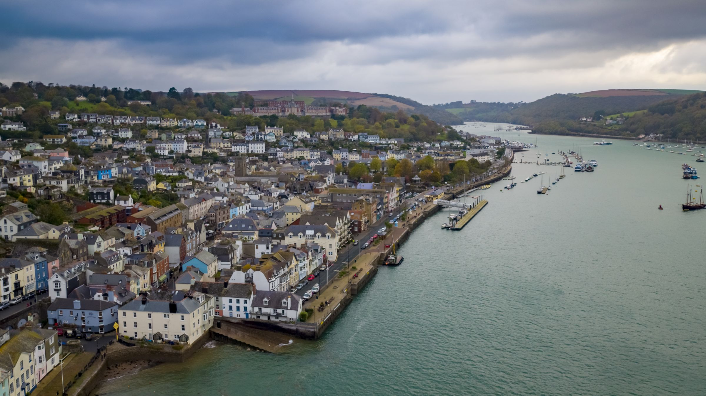 Drone image featuring Dartmouth Harbour. Fishing boats in the water