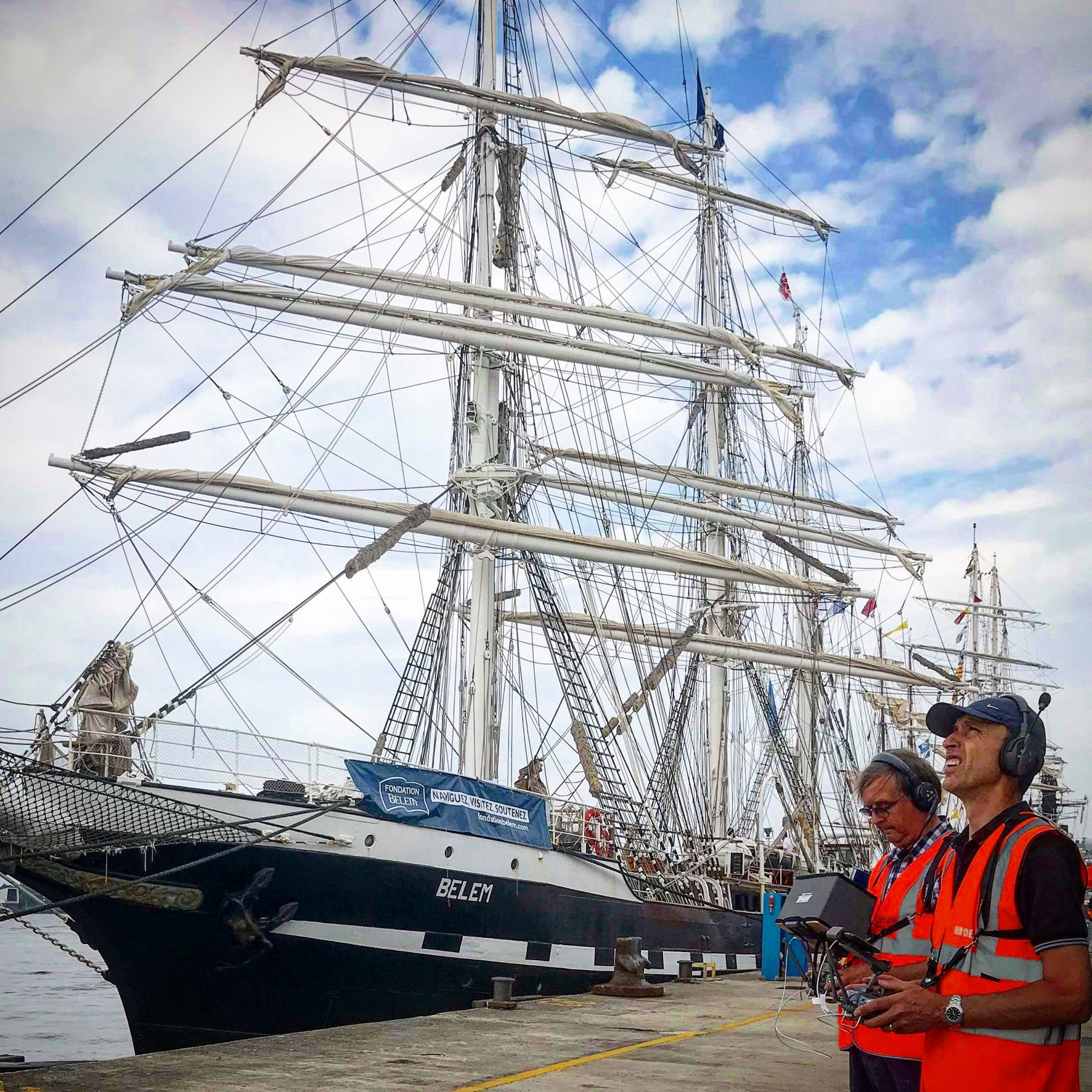 Drone Filming the Tall Ships at Liverpool in a multi crew set up.