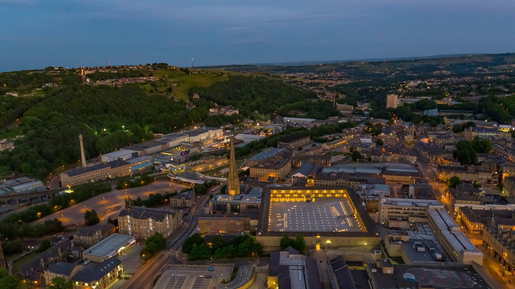Halifax filmed by drone featuring the railway station and Piece hall