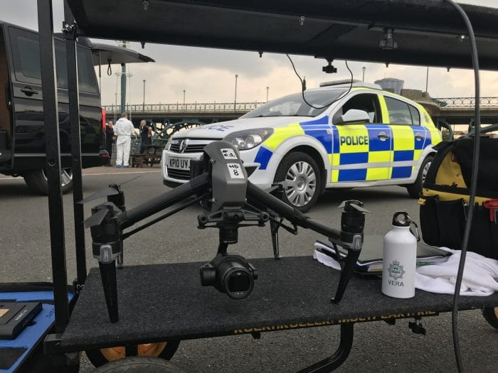 Drone photography on the set of ITV's Vera