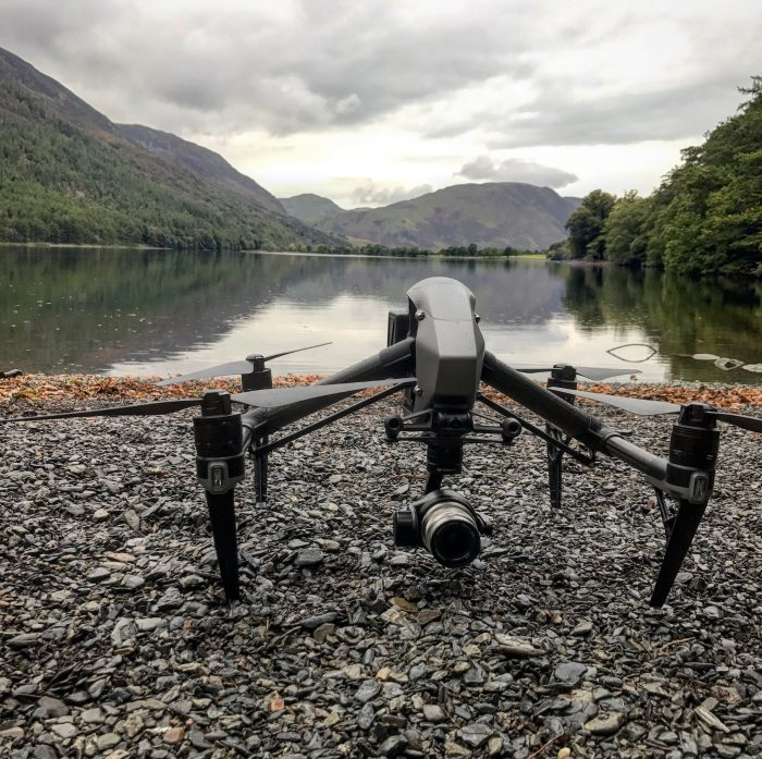 Halo Vue Drone waiting to take off in the Lake District for ITV