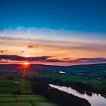 Sunset over Bronte Country, by drone with lake and water.