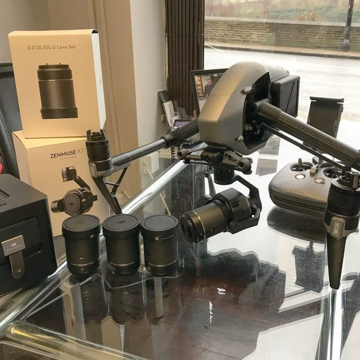 dji inspire 2 with the x7 camera and full lens set
