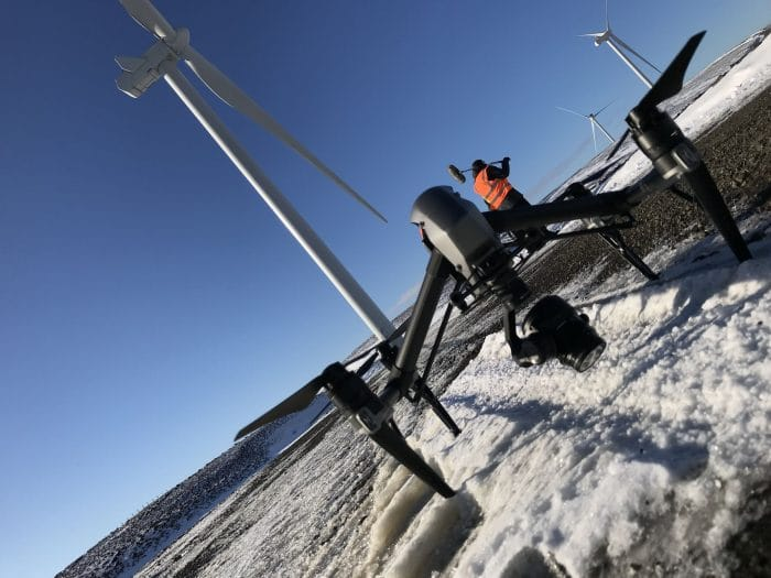DJI Inspire 2 Aircraft on a wind farm in the snow