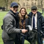 Emmerdale star Emma Atkins and Dougie Brown stood with Phil Fearnley filming with the drone