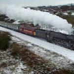 The Flying Scotsman train in Winter