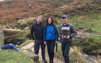 drone being flown next to Julia Bradbury and Nick Small