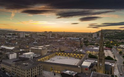 Sunset over the Piece Hall by Drone