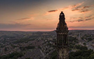 Wainhouse Tower at sunset in Halifax West Yorkshire