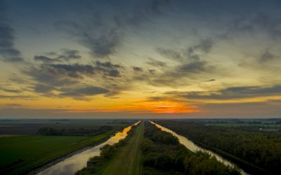 Drone Filming of a Sunset over the river Don in Yorkshire