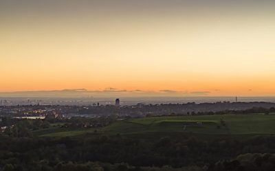 Sunset over Manchester by Drone