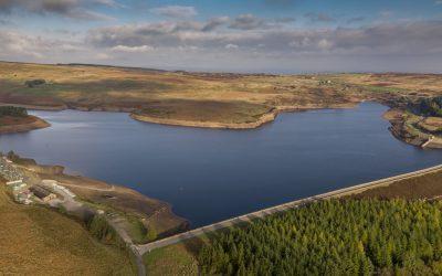 Reservoir in Yorkshire filmed by drone