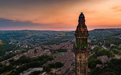 Sunset and Wainhouse Tower Drone Filming