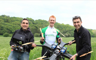 Ed Clancy filming for the Tour De Yorkshire