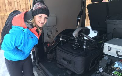 Helen Skelton looking at our drone in the back of our VW Transporter
